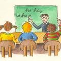 Eine halbe Klasse lernt in der Schule.